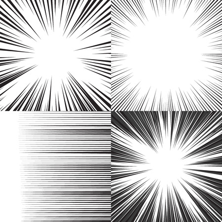 horizontal: Comic book speed horizontal lines background set of four editable images Illustration
