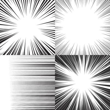 Képregény sebesség vízszintes vonalak háttér készlet négy szerkeszthető képek Illusztráció