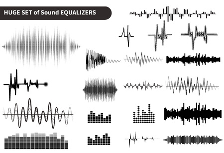 digital music: Huge vector sound waves set. Audio equalizer technology, pulse musical. Vector illustration Stock Photo