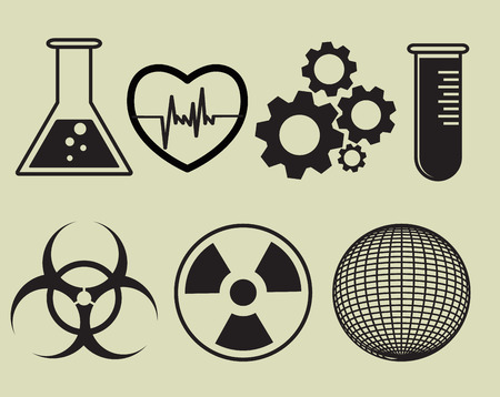 a solution tube: Science and physics related icons in black. Vector illustration Illustration