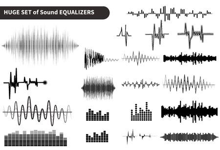 Enorme vector geluidsgolven te stellen. Audio equalizer technologie, pulse musical. vector illustratie