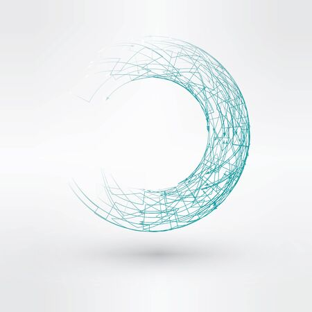 torus: Wireframe mesh polygonal element. Torus with connected lines and dots.