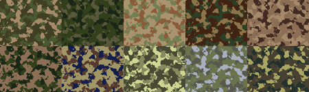 camo: Big set of seamless camo pattern vector. Illustration