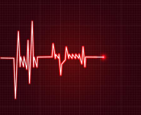 beat: Electrowave heart beat, cardiogram. Pulse vector illustration.