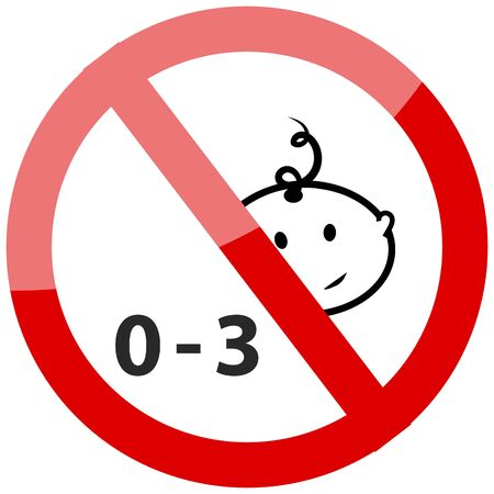 Prohibited from using children under three years icon. Vector illustration.