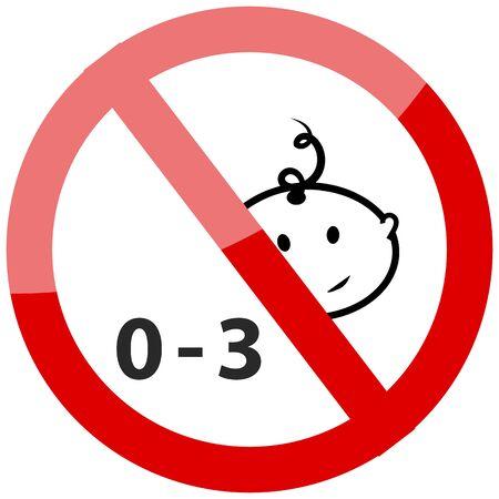 Verboden gebruik te maken van kinderen onder drie jaar icoon. Vector illustratie.