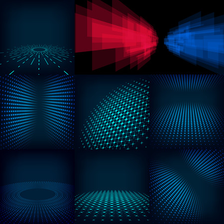 Set of nine abstract blue, red and cyan digital vector background posters. Template made with gradient, circles and dots effect. Includes flares, mesh and halftone. Good design pattern for promotion, business and marketing. eps10 glow illustration