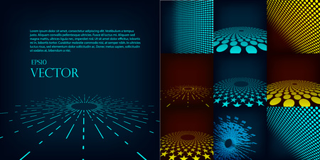 cyan business: Set of nine abstract blue, red and cyan digital vector background posters. Template made with gradient, circles and dots effect. Includes flares, mesh and halftone. Good design pattern for promotion, business and marketing. eps10 glow illustration