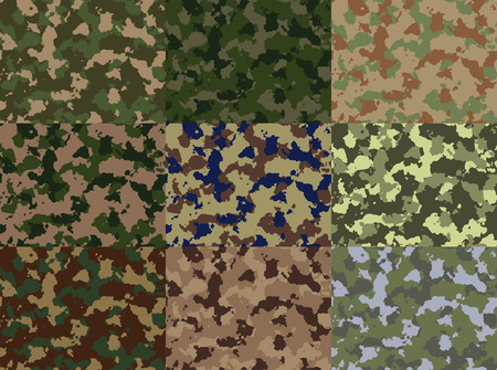 standalone: Nine standalone pictures. Seamless Camouflage pattern vector. Huge set, easy to edit one by one.