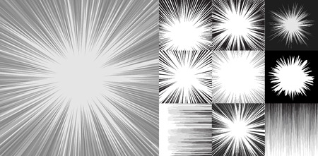 Comic book speed horizontal lines background set of ten editable images with radial and horizontal beams