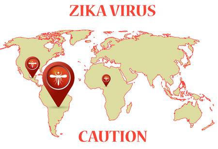 sub tropical: Zika Virus with mosquito earth map infographic Illustration