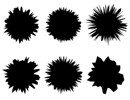 pollen: Black and white isolated set of six vector shapes.