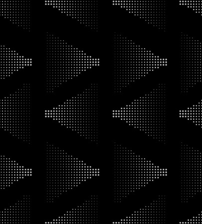 pointillism: White on black seamlesss pattern of halftone triangles with dradient vector