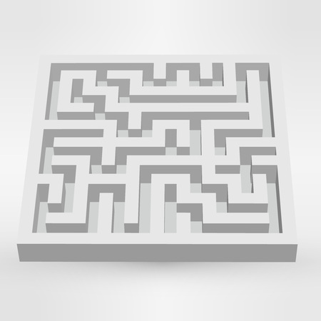 escape plan: Maze labyrinth puzzle white on grey background.