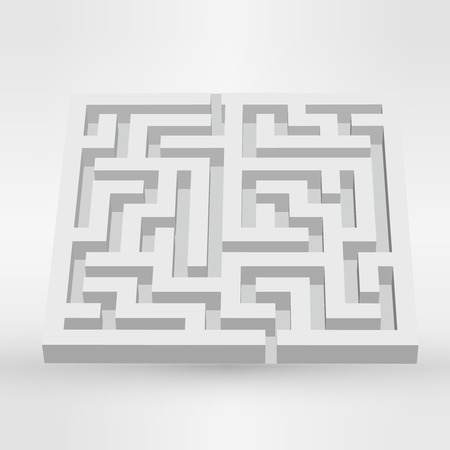 escape plan: Maze labyrinth puzzle white on grey background.