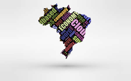 cloud computing services: Map of Brasil. Theme of economy and global finance. Hi-tech technology as cloud computing, services, business, small companies, hr costs, time use and others.