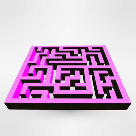 escape route: Maze labyrinth puzzle pink on grey background. Illustration