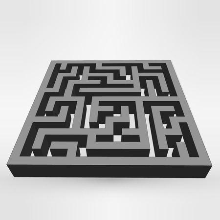 escape plan: Maze labyrinth puzzle dark on grey background.