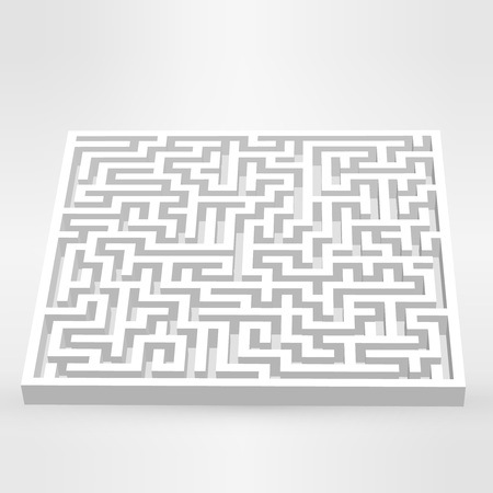 escape route: Maze labyrinth puzzle white on grey background.