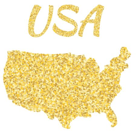 Map of USA in golden. With gold yellow particles and dots.
