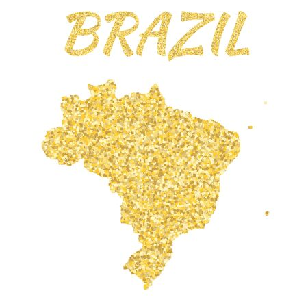 modernity: Map of Brazil in golden. With gold yellow particles and dots.
