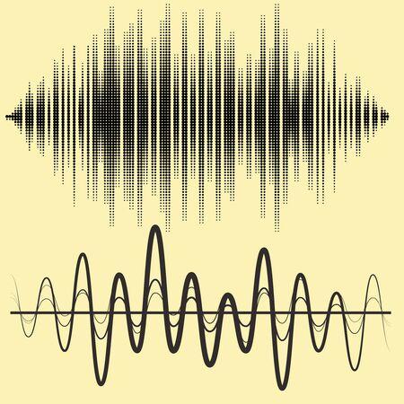 sound waves: Vector sound waves set. Illustration