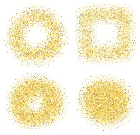 Set of six golden sand glitter effect good for banners, greeting carts. Set of square and circles. Ilustração Vetorial