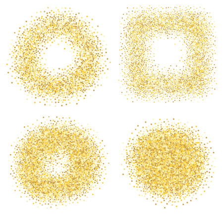 sand: Set of six golden sand glitter effect good for banners, greeting carts. Set of square and circles.
