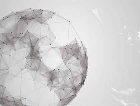 Fondo abstracto Virtual con partículas, estructura de la molécula.