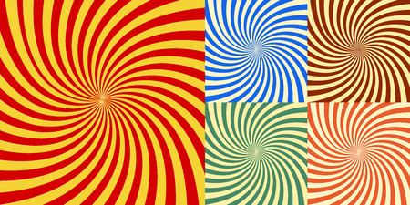 Swirl stripes illustration of five images of twist radial effect. Ina different colors such as red, green, yellow and white. Collection of geometric abstract background warp shapes Colors green red and blue