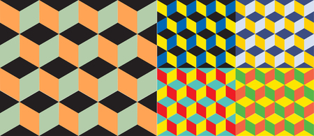 illusion: Set of five seamless geometric colorful vector background. Cube shapes. Optical illusion 5 in 1