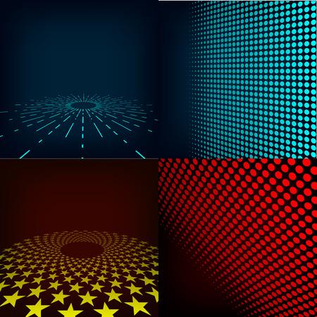 halftones: Set of four editable images