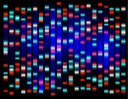 An abstract example of DNA fingerprinting Blue on dark
