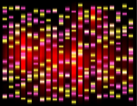 An abstract example of DNA fingerprinting Red on dark.