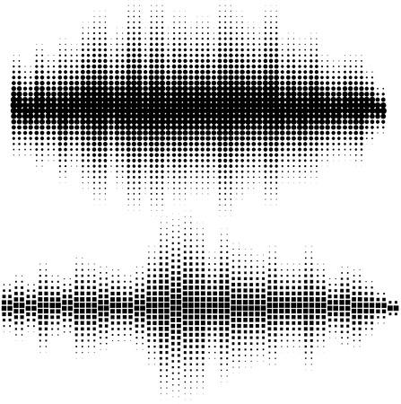 Ondes Vector sonores fixées. Vector illustration du modèle de la musique et de la texture. Vous pouvez utiliser dans le club, radio, pub, DJ spectacle, fête, concerts, récitals ou de la technologie audio publicité fond .. Banque d'images - 56027837