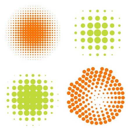Állítsa az absztrakt Féltónus körök, vektoros illusztráció Illusztráció