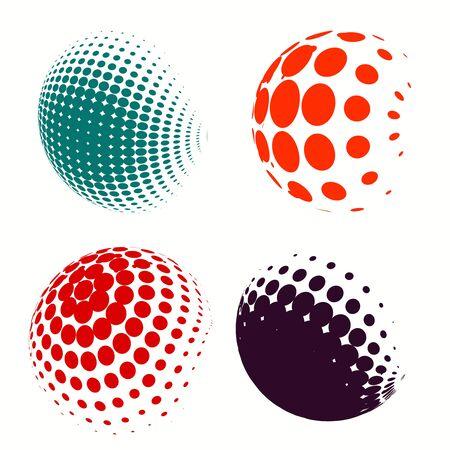 Állítsa az absztrakt Féltónus körök, vektoros illusztráció földgömb színes pöttyök Illusztráció