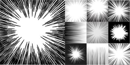 Japanies manga képregény sebesség vízszintes vonalak háttér készlet tíz szerkeszthető képek radiális és vízszintes gerendák. Version 2. rész