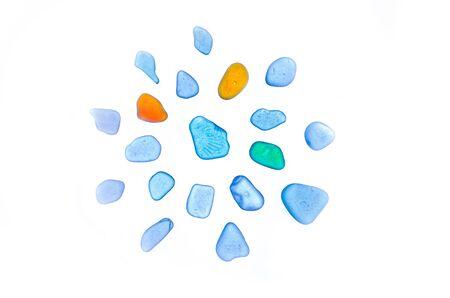 Gyönyörű kövek, seaglass, elszigetelt, nyaralás, caribbean, dekoráció, elszigetelt seaglaas a fehér háttér