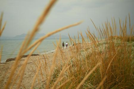 Gyönyörű homokos strand egy romantikus hangulat Stock fotó