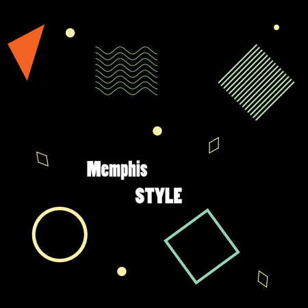 Modern poster, brochure or card geometric figures in Memphis style, perfect for web pattern or print wrapping decoration and fashion textile, fabric design. Illusztráció