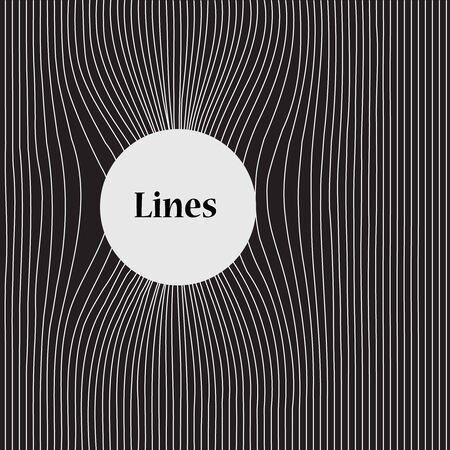 Hullámos minta vonalakkal, fehér vonalak fekete háttéren és szöveg helyével