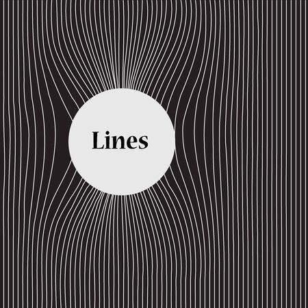 Wavy pattern with lines, white lines on black background and with a place for a text