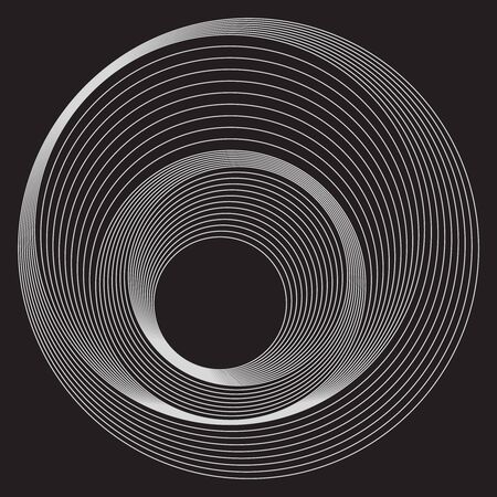 Rounds pattern with lines, white lines on black background