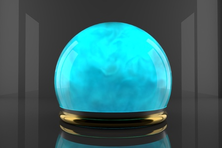 Crystal ball with fume inside and particles motion. Cyan color gas inside a glass sphere. Design of liquid luminous smoke. Stock Photo