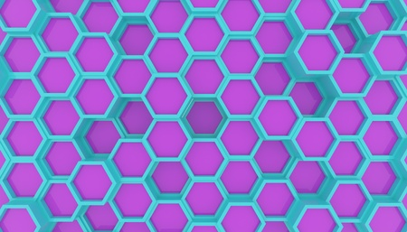 Illustration design of geometric hexagon surface. Grid pattern of waving hexagones. Cyan and Violet colors Imagens