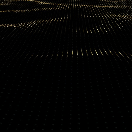 Illustration background of particles on surface with waves. 3D render of perspective golden surface. Stock fotó