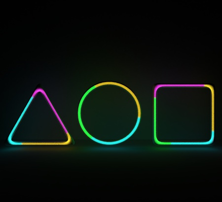 Neon shapes with gas noice inside. 3D illustration gas tubes with multicolor gas. Stock fotó