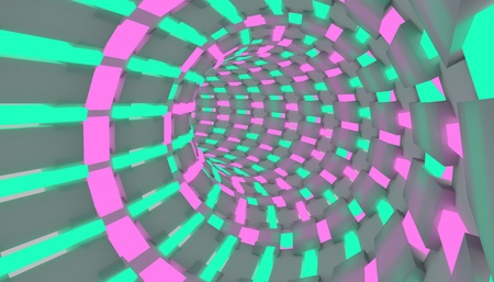 Sci-fi illustration of a flight through tunnel. Neon tube 3D render design