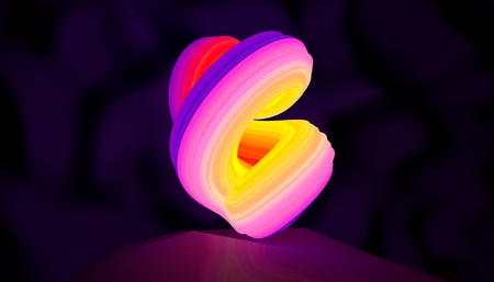 Illustration of an abstract logo neon shape rotation. 3D illustration